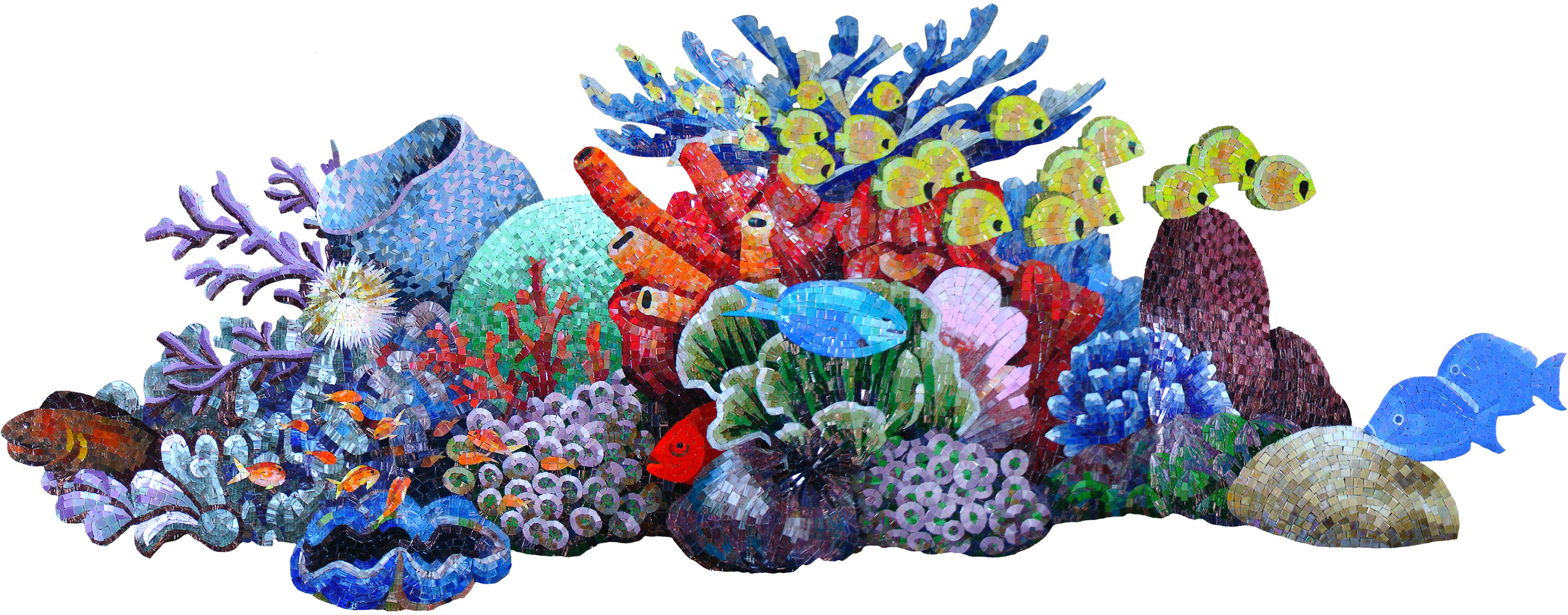 Big Tropical Coral Reef Scene Glass Mosaic Swim Pool Tile